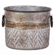 11-in. Metal Oval Galvanized Planter