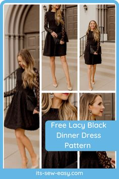 One of the best ways to spice up your wardrobe is with a little black dinner dress. It's the perfect way to step out looking stunning without spending too much time dressing up. This exquisite lace little DIY black dress will make you the centre of attraction wherever you go. The pattern includes a step by step tutorial that walks you through the process of making the dress in simple and easy to understand instructions. #dresspatterns#freedresspatterns#dresssewingpatterns#freesewingpatterns Formal Dress Patterns, Unique Formal Dresses, Black Dinner Dress, Looking Stunning, Lace Fabric, Walks, Evening Gowns, Attraction, Centre