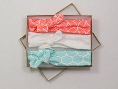 Baby Headband Coral Mint Organic Cotton Knotted / Baby Headband/ Toddler Headband/ Jersey Knit Mint White Headband/ Set of Three