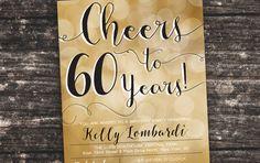 Cheers to 50 years  80th birthday invitations by TresCutiesDesigns