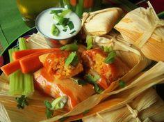 Buffalo Style Chicken Tamales With Blue Cheese Crema HispanicKitchen.com