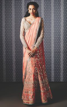 Peach lehenga sari | The Ishiya lehenga saree, the rishika earring by Anita Dongre and the aaradhya ring by Pinkcity | Summer Bride 2015 new collection | thedelhibride Indian weddings blog