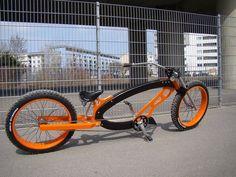 Orange and black custom bike Beach Cruiser Bikes, Cruiser Bicycle, Custom Cycles, Custom Bikes, Cool Bicycles, Cool Bikes, Power Bike, Push Bikes, Lowrider Bike
