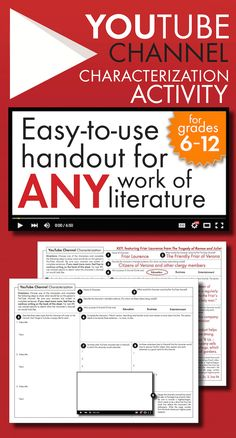 Add a little fun to ANY novel, play, or short story unit with this easy-to-use worksheet where students choose a character and fill his/her fictional YouTube channel. High-interest activity for middle school and high school students. #highschoolEnglish #middleschoolEnglish
