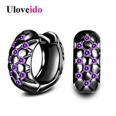 Uloveido Earrings for Women Purple Earring with Stones Black Gun Color Earings boucle d'oreille Oorbellen Earing 5% Off HE488