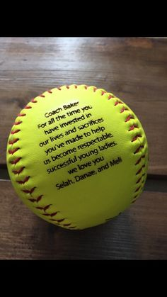 For all the softball lovers, coaches, players, parents, kids, etc. Personalize this softball with anything youd like. This listing includes ONE