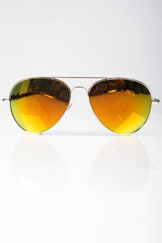 Mirrored Aviators - Yellow