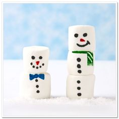 diy for kids ~ marshmallow snowmen! just use marshmallows, pretzel sticks and food markers
