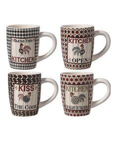 Rooster Mug - Set of Four #zulily #zulilyfinds