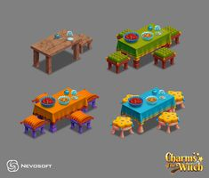 ArtStation - Selena's house objects, Sofia Tokareva Isometric Art, Medieval World, Witch House, Game Item, Game Assets, Designs To Draw, Art Direction, Game Art, Concept Art