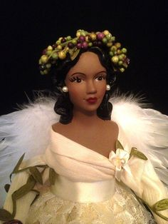 ivory african american treetop angel christmas angel in lace for home decor and the holidays - Black Christmas Angels