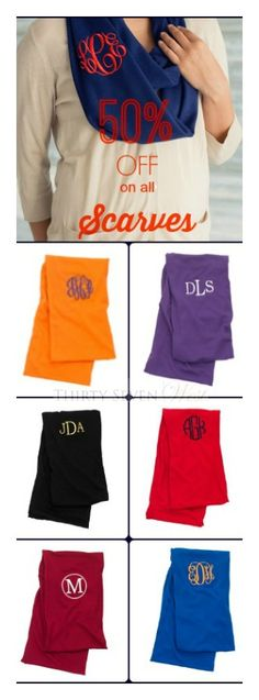 50% OFF on all Scarves. Personalized Scarves! Monogrammed Scarves!