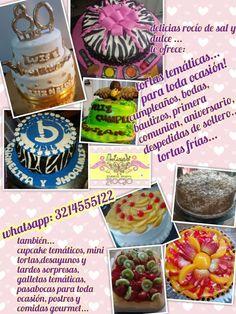 Tortas temáticas para toda ocasion, tortas frías,  cupcake y galletas temáticas,  mini tortas, desayunos y tardes sorpresa, pasabocas, comidas gourmet, postres...whatsapp: 3214555122
