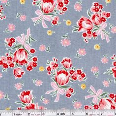 The Old New Fabric Collection takes inspiration from vintage prints, making them new again! This print is inspired by the 1930s, with bold flower bouquets on a vintage colored ground. The base cloth is a bit gauzy, with thick and thin yarns, creating a texture reminiscent of vintage flour sacks. This quilting weight Japanese fabric is 43/44