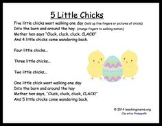 5 Baby chick songs and chants for toddlers and preschoolers! Kindergarten Songs, Preschool Music, Toddler Preschool, Preschool Farm, Toddler Teacher, Songs For Toddlers, Kids Songs, Easter Songs For Preschoolers, Spring Songs For Kids