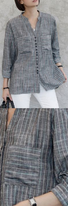 French long sleeve cotton v neck clothes gray striped oversized shirtYou can find Service design and more on our website.French long sleeve c. Kurta Designs, Blouse Designs, Linen Dresses, Dresses With Sleeves, Kurta Neck Design, Oversized Shirt, Blouse Styles, Trendy Dresses, Blouses For Women