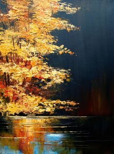 acryliccanvas 10x10 in red and yellow trees on the river bank Original Painting:Autumn by the River Maryland landscape fall