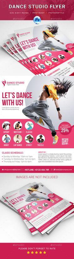 Dance Studio Flyer Template PSD #design Download: http://graphicriver.net/item/dance-studio-flyer/12836121?ref=ksioks
