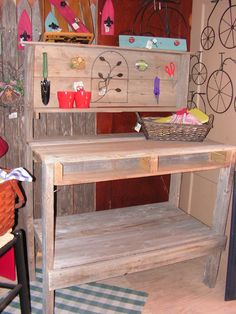 "My latest project - Old wood & pallet potting bench. Located at Mariachi Frog in Clovis NM, in ""The Kitchen Sink"" booth."