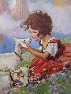 Heidi and the Goats PosterGirl in a Beautiful by CardsArtandGifts, $25.00