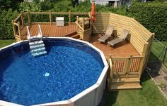 Patio with above-ground pool like the pool steps., ground pool landscaping Patio with above-ground pool like the pool steps Above Ground Pool Landscaping, Above Ground Pool Decks, Backyard Pool Landscaping, In Ground Pools, Backyard Ideas, Patio Ideas With Pool, Pool With Deck, Desert Backyard, Landscaping Melbourne
