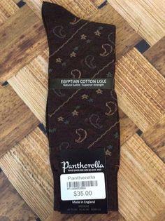 $35 Pantherella Cotton & Nylon Brown Sage Tan Paisley Socks Med 8.5-11 BRAND NEW #Pantherella #Dresssocks