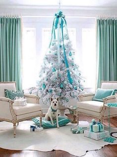 Tiffany Blue Christmas..with some decorations bought at Tiffany...Santa Baby