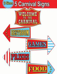 7 Best Images of Circus Printable Food Signs - Circus Carnival Welcome Signs, Free Printable Circus Food Labels and Printable Carnival Signs Vintage Carnival Games, Carnival Signs, Diy Carnival Games, Carnival Decorations, Spring Carnival, Carnival Themed Party, Carnival Birthday Parties, Circus Birthday, Vintage Games