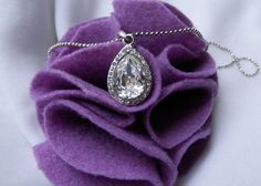 Cubic Zirconia Necklace Rhodium Plated Chain by JewelryBox88, $12.00