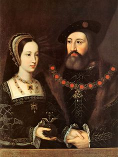 Mary Tudor and Charles Brandon, Widowed Queen of France and the Duke of Suffolk. Artist unknown, date unknown. (collection of the Earl of Yarborough). Image to celebrate the wedding of the two. They were married in 1515.