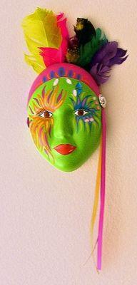 Green Fantasy Mask Art   Ceramic Junkanoo Masks-Green Jeweled Mask. Ceramics/Glass (Ceramic ...
