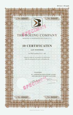 HWPH AG - Historische Wertpapiere - Boeing Company Amstedam Specimen