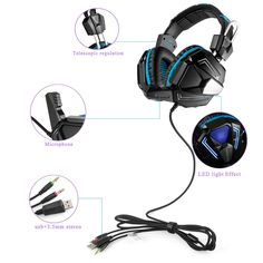 57.89$  Watch now - http://ali6vd.worldwells.pw/go.php?t=32759092576 - KOTION EACH G5000 Over-ear Game Gaming Headphone Headset Earphone Headband with Mic Stereo Bass LED Light for PC Game