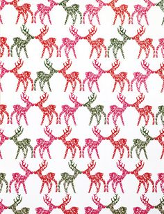 Holiday Gift Wrap Sheet, Patterned Reindeer - kates paperie