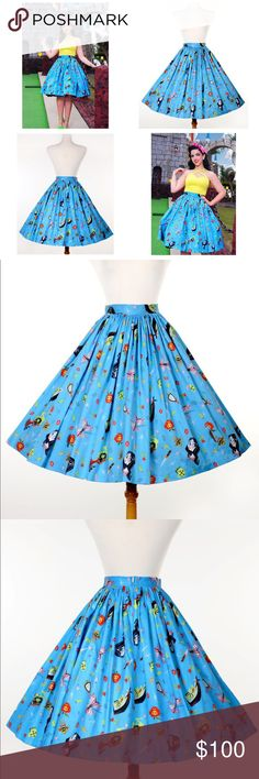 """Pinup Girl Clothing Snow White Print Jenny Skirt PRICE FIRM*** Gathered for extra fullness, it's made of a cotton sateen with a wide waistband and back zipper. Nipped in at the waist and gorgeous skirt volume for a classic 50's feel made even more dreamy in this Snow White print from artist Stephanie Buscema. This print features flowers, gems, daggers, poisoned apples, corsets, witches, and of course, its namesake heroine as well! Waist 30""""-31"""" length 27.5"""" NEVER BEEN WORN, still in…"""