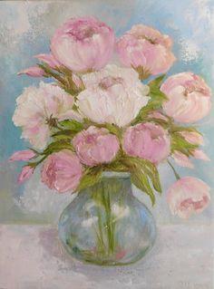 Pintura al óleo de peonía Suaves Peonías bellas por KenziesCottage