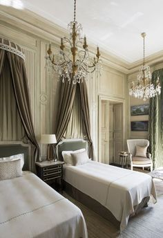 French lesson: Twin beds +  twin chandelier=big charm. Room by Jean Louis Deniot