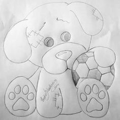 Cachorrinho pintura em tecido by shmessa Applique Patterns, Applique Designs, Quilting Designs, Baby Embroidery, Hand Embroidery Designs, Easy Coloring Pages, Coloring Books, Cartoon Drawings, Easy Drawings