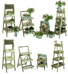 Shabby-Chic-Rustic-Wood-Florist-Shop-Farm-Market-Display-Plant-Pot-Shelf-Unit