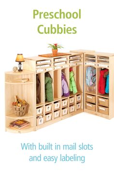 Get organized with these beautiful preschool cubbies and welcome children to their class each day with an inviting space for their personal belongings. Preschool Cubbies, Preschool Classroom, Classroom Setting, Soothing Colors, High Quality Furniture, Getting Organized, Lockers, Organization, Learning
