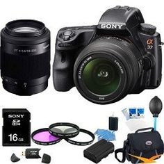 Review Cheap Sony Alpha SLT-A37K 16.1 MP Exmor APS HD CMOS Sensor DSLR with Translucent Mirror Technology and 18-55mm Lens (Black) ULTIMATE BUNDLE with Sony 55-200 Telephoto Lens, 16GB High Speed Card, Filter Kit, Spare Battery, Case+ More