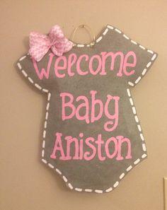 Welcome Baby Burlap Door hanger-personalized by TheCraftyFoxLR
