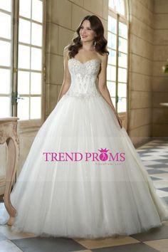 2016 Una línea de novia con cuentas blusa vestidos de tul de novia Corte tren US$ 279.99 TDPTLHF3J8 - TrendProms.com for mobile