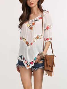 White Hollow Out Crochet Insert Blouse. White Beach V Neck Half Sleeve Polyester Sheer Fabric has no stretch Summer Blouses., blusabordada, bordados, bordado, g Mode Crochet, Crochet Girls, Crochet Woman, Crochet Collar, Crochet Blouse, Crochet Fabric, Knit Crochet, Crochet Tops, Summer Blouses