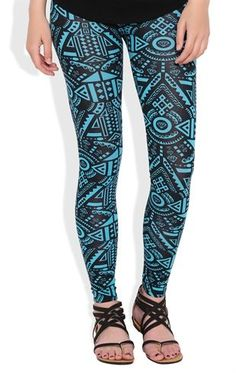 Deb Shops Teal and Black Aztec Print #Leggings $12.00