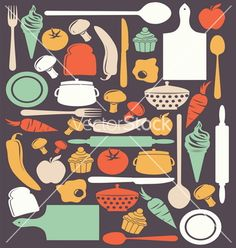 Cute kitchen pattern vector by brankica on VectorStock®