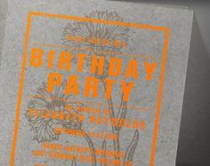 Rustic Orange Birthday Party Invitation