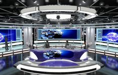 Stock Photo - Virtual Tv News Set 1 Virtual sets that are required for any modern show for TV channels. This virtual studio set background is ideal for use in a new Tv Set Design, Stage Set Design, 3d Design, Event Design, Creative Design, Logo Design, Plateau Tv, Virtual Studio, 3d Studio