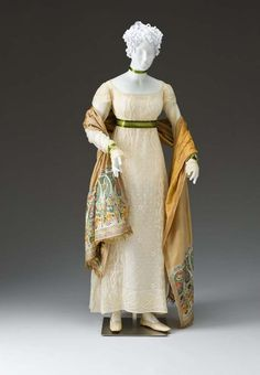 Love the green ribbon sash and the shawl. Dress 1810-1815 The Mint Museum