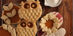 Owl pastry topped mini pumpkin pies. So cute!